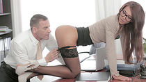 Beautiful Alexis cock in a hardcore action and gives a sloppy blowjob