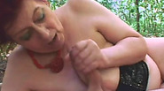Horny granny Tamara sucks dick and moans while getting fucked in woods