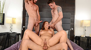 Slutty MILF Syren De Mer joins three hot dudes in foursome
