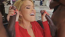 Amazing Blonde MILF Takes On Two Fat Black Rods