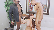 Alluring redhead MILF Enjoys Interracial Double Penetration Action