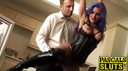 Slutty Alexxa Vice swallowing a dildo while getting drilled