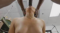 Asian Tailor Swallows Monster Black Cock Before Getting Fucked