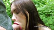 Beauty with huge lips sucks in public