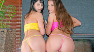 Booty babes take turns getting their tender asses ripped