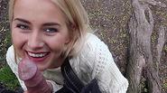 Blonde hottie teen Aisha considers sucking cock for cash