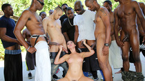 Melissa Moore sucks several black cocks at once