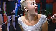 Kinky blonde slut has a fetish for studs pissing on her bukkake style