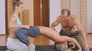 Two flexible blondes fucks in steamy threesome after having yoga class