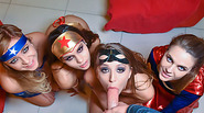 Hot teen babes in a Halloween group sex party