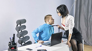 Sexy petite secretary Sheri Vi gets bang at the office of his boss