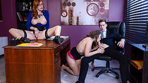 Office girls in a very hardcore threesome action with Lauren Lena and Danny