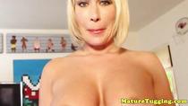 Mature handjob milf tugging before using tits