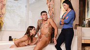 MILF India Summer and Sara Luvv threesome action inside the bathroom