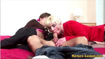 Mature Blonde and Daughter Threesome