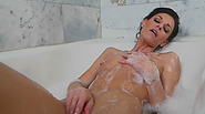 Sexy brunette mama hot bathtub session voyeurism fat cock guy