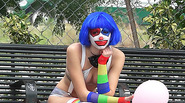 Super sexy clown gets picked up and fucked along the way