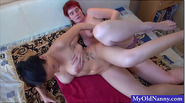 Babe and granny sharing cock