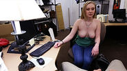 Cute little blonde roughly Fucked in shop by a huge cock and gets wild