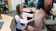 Big tittied brunette kneels down to suck a cock and gets doggy fucked