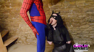 In this Marvel V DC epic action, Spiderman finally gets his way with the sultry catwoman. They fuck hard and spiderman can release his sticky web all over catwoman.