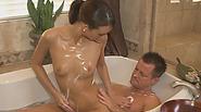 Alluring brunette sucks cock and provides ultimate nuru massage pleasure