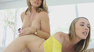 Naughty stepmom Cory Chase fucks her daughter Roxy with a dildo and licks her sweet pussy