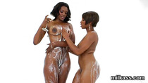 Slutty lesbians fill up their monster bootys with cream and splash it out