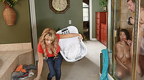 Mom finds couple fucking in her house so she joins them for the fun