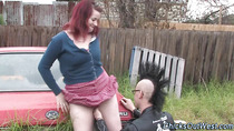 Real gf fingered outdoors