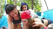 Camping girls sharing a dick
