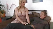 Hot blonde MILF humping younger guy