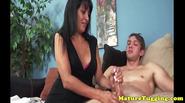 Pierced cougar wanking cock until he cums
