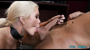 Collared Blonde sex toy at work