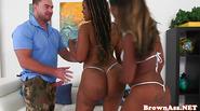Stripping bigass ebony babes in pov threeway