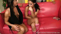 Pretty Brunette Squeals On Thick Penis