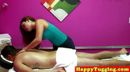 Masseuse asian tugging client cock after fucking