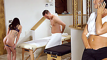 MILF masseuse gives couple an unforettable massage a trios