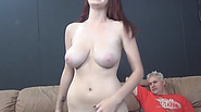 Horny man fucks and licks sweet shaved pussy of a busty redhead babe