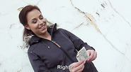 Bitchy Euro babe Antonia flashes her tits in public for a couple of cash
