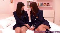 Cute asian schoolgirls lesbo fun at sleepover