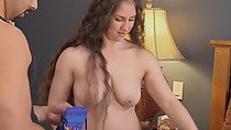 Busty swinger brunette got her juicy cunt shared by two guys