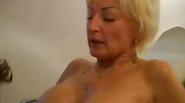 Blonde grandmom gets facial cream