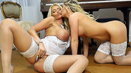 Blonde lesbian babes with big tits tease and play in sexy white lingerie and nylon stockings