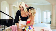 Blonde horny Carmen and Jazy scissor and oral sex action