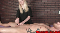 Teenage masseuse tugging her client roughly