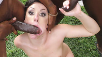 Jennifer White Chokes And Gags on Black Dicks