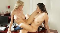 Babes Karlee Grey and Brandi Love sweet lesbi sex