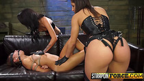 Sub slut gets banged by two mistresses