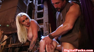 Busty corset babe gets her big tits cumshot